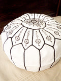 Moroccan Leather Poufs Embroidery White Black Stitches Filled