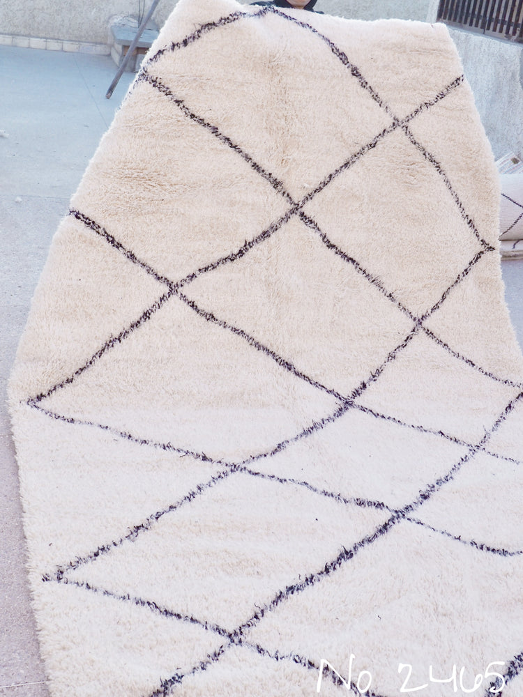 Beni Ourain Carpet - 350x200cm - Large Triangles - Habit - Natural Wool - 2465 - Carpets - THE PEOPLE OF SAND