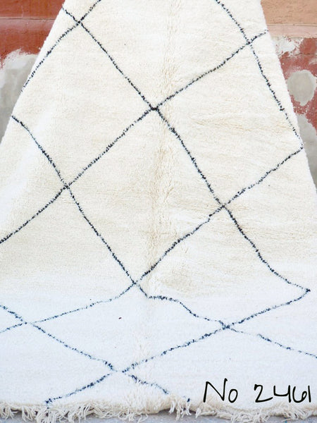 Beni Ourain Carpet - 310x207cm - Large Triangles - Aziki - Natural Wool - 2461