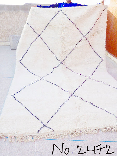 Beni Ourain Carpet - 315x218cm - Large Triangles - Temsia - Natural Wool - 2472 - Carpets - THE PEOPLE OF SAND