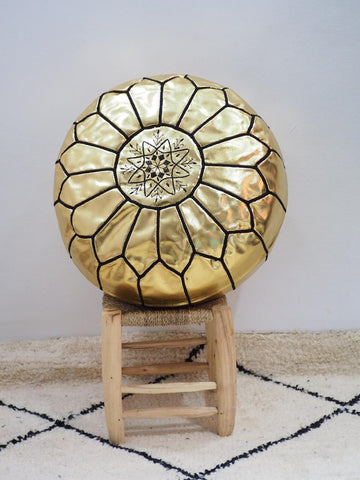 Moroccan Faux Leather Poufs Gold w/ Black Stitches