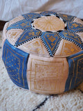 Moroccan Leather Pouffe Blue and Natural