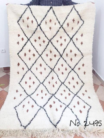 Beni Ourain Carpet - 214x143cm - Tribal - ATICA - Natural Wool - 2495
