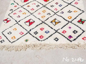 Beni Ourain Carpet - 240x130cm - Tribal - AROOB - Natural Wool - 2496 - Carpets - THE PEOPLE OF SAND