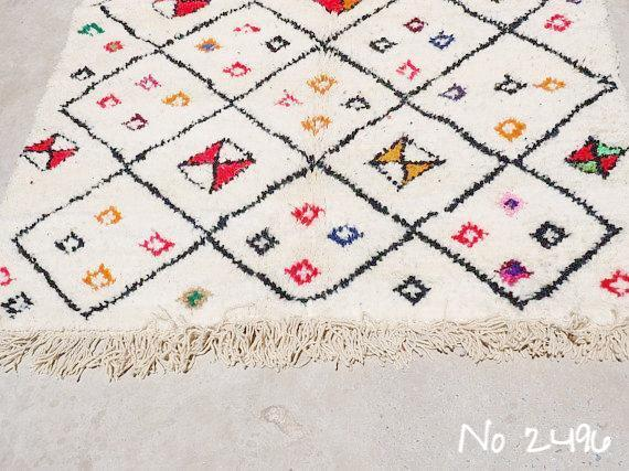 Beni Ourain Carpet - 240x130cm - Tribal - AROOB - Natural Wool - 2496