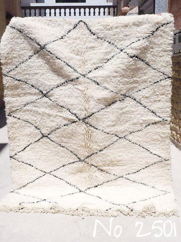 Beni Ourain Carpet - 220x170cm - Diamonds - ALVA - Natural Wool - 2501