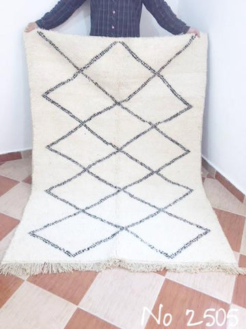 Beni Ourain Carpet - 200x136cm - Diamonds - ASIANNE - Natural Wool - 2505