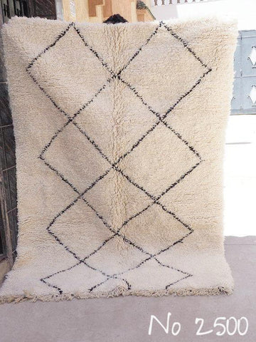 Beni Ourain Carpet - 220x162cm - Diamonds - ADIBA - Natural Wool - 2500