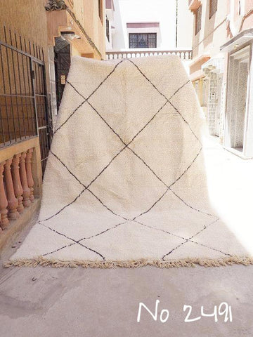 Beni Ourain Carpet - 320x210cm - Large Triangles - AOUDA - Natural Wool - 2491