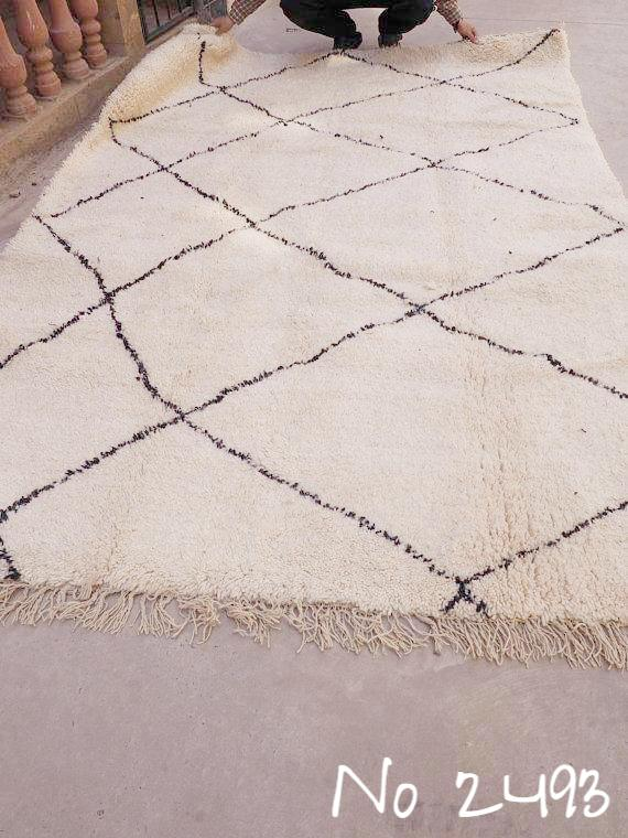 Beni Ourain Carpet - 300x200cm - Large Triangles - AOUATI - Natural Wool - 2493 - Carpets - THE PEOPLE OF SAND