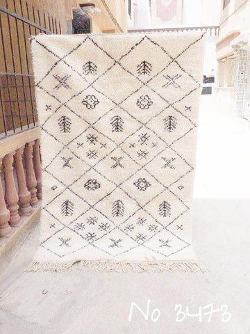 SUPER SALE! Beni Ourain Carpet - 200x130cm - Tanisha - Natural Wool - 3473