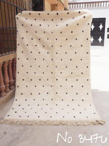 Beni Ourain Carpet - 260x152cm  - Nafisa - Natural Wool - 3476