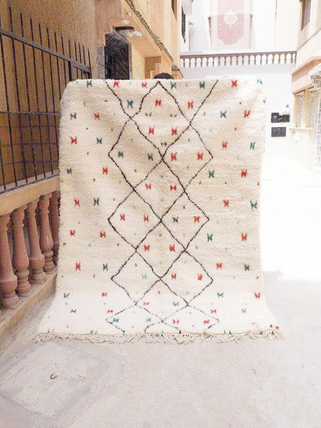Beni Ourain Carpet -230x166cm - Diamonds - HANIFA - Natural Wool - T012