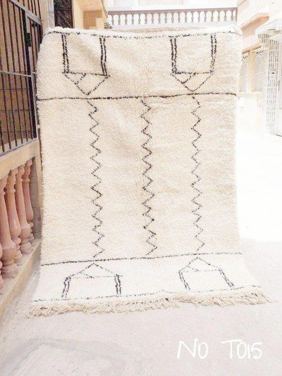 Beni Ourain Carpet - 230x145cm - Tribal - BYBLOS - Natural Wool - TO15 - Carpets - THE PEOPLE OF SAND