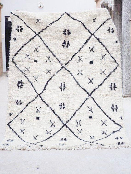 Beni Ourain Carpet - 237x167cm  - ZOUZFANA - Natural Wool - Carpets - THE PEOPLE OF SAND