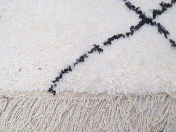 Beni Ourain Carpet - 217x160cm - KAWTAR - Natural Wool - N11