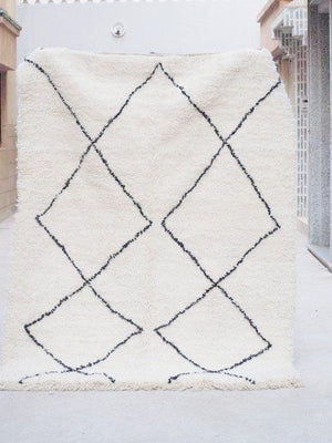 Beni Ourain Carpet - 217x160cm - KAWTAR - Natural Wool - N11 - Carpets - THE PEOPLE OF SAND