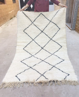 Beni Ourain Carpet - 235x142cm - MEZINDA - Natural Wool - FF4 - Carpets - THE PEOPLE OF SAND