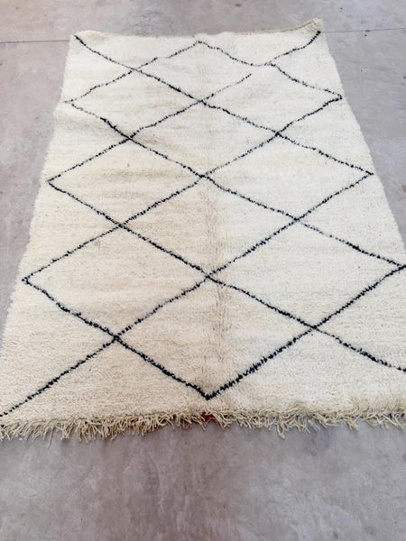 Beni Ourain Carpet - 200x130cm - YAKOUB - Natural Wool - FF3 - Carpets - THE PEOPLE OF SAND
