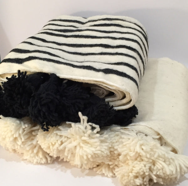 Moroccan Pom Pom Blanket 100% Wool Ecru And Black Stripes