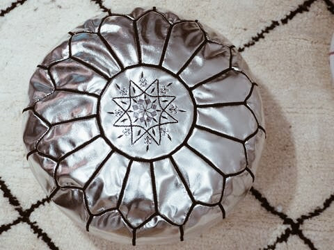 Moroccan Faux Leather Poufs Silver Black Stitches