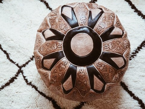 Moroccan Leather Pouffe Black and Tan with Floral Pattern