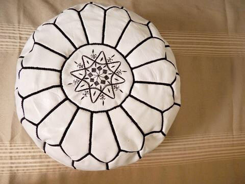 Moroccan Leather Poufs White Black Stitches Filled