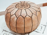 Moroccan Leather Poufs Camel Filled