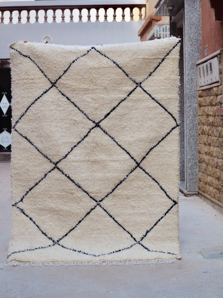 Beni Ourain Carpet - 220x154cm - Casablanca - Natural Wool - Y04