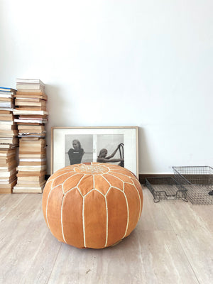 Light Tan Leather Poufs