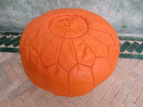 Moroccan Leather Pouffe Coral