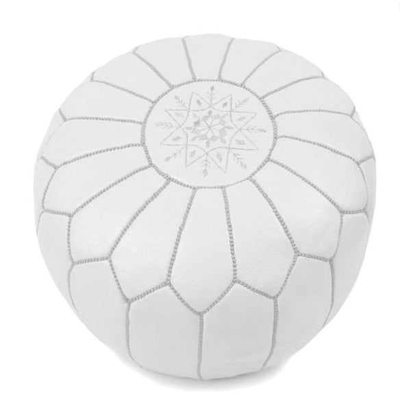Pouffes - Moroccan Leather Poufs White Filled