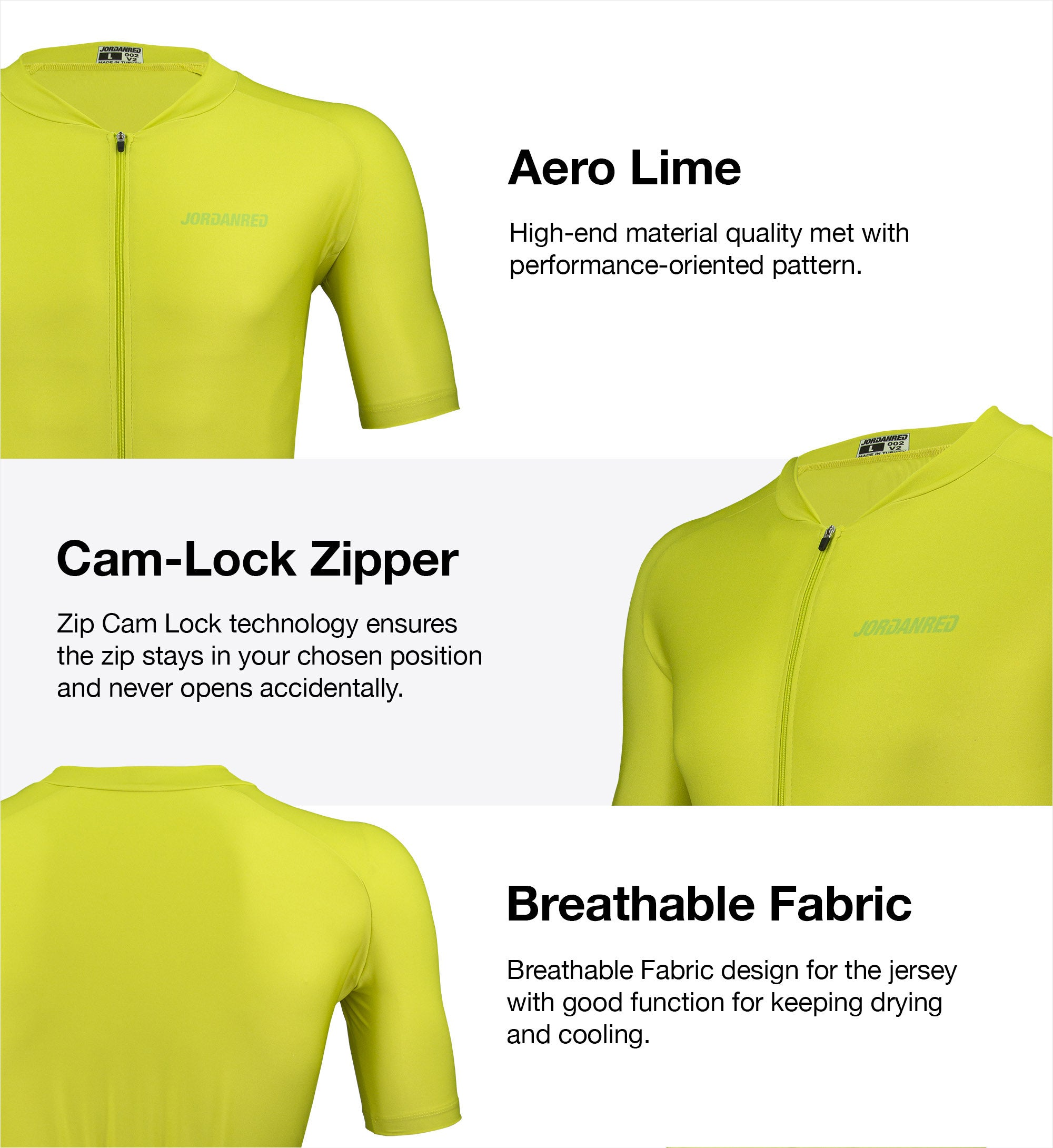 Features - Aero Red Unisex Cycling Jersey 1