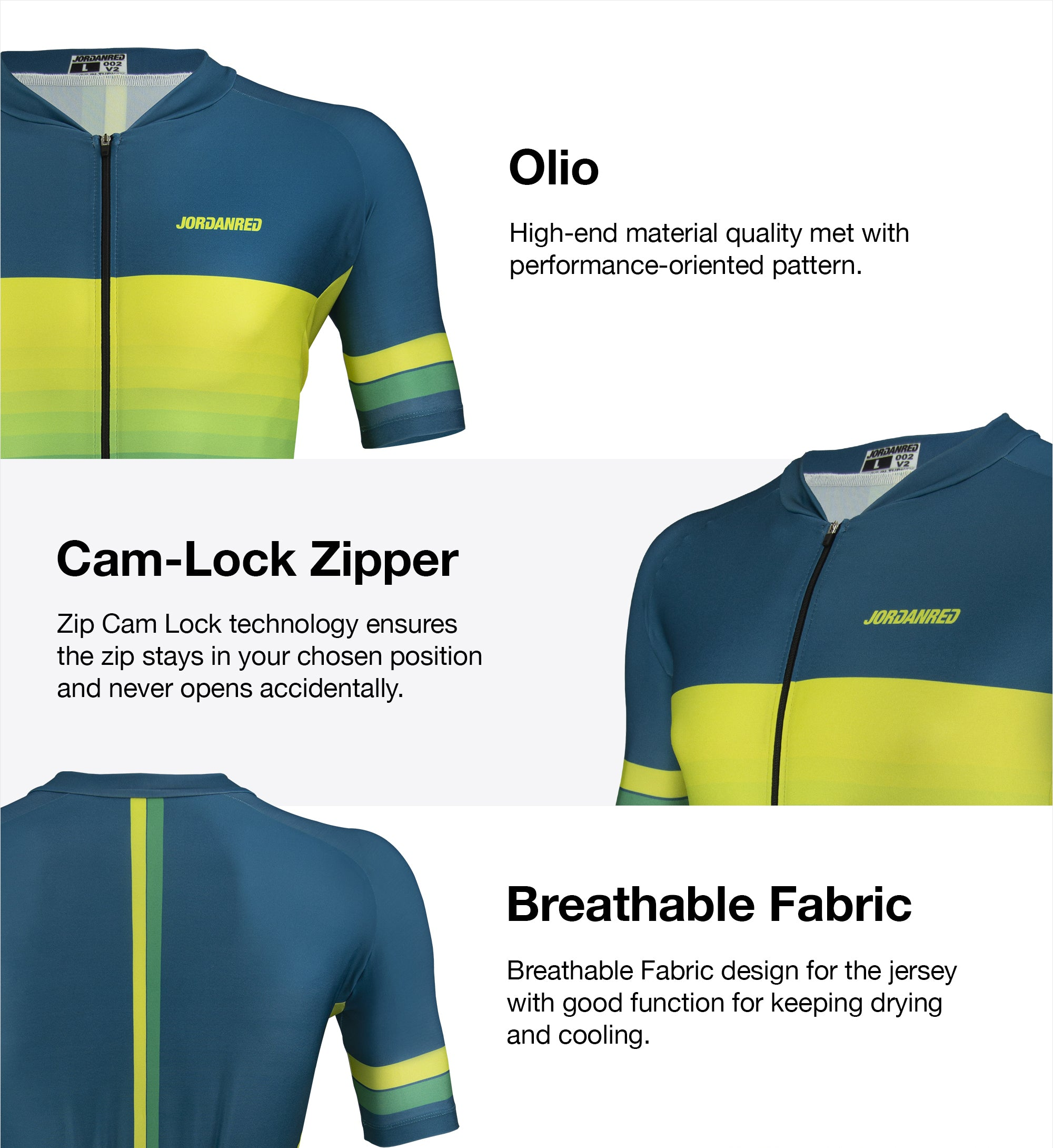 Features - Olio Unisex Cycling Jersey 1