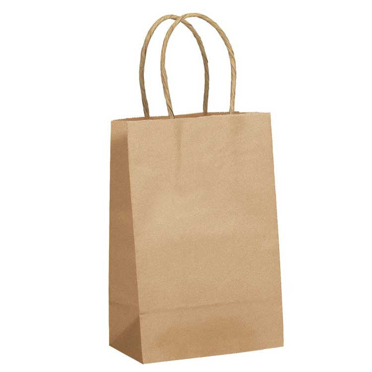 100% Recycled Tan Kraft Paper Shopping Bags