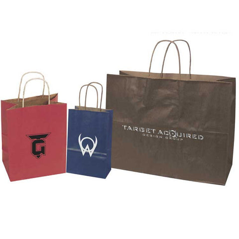 100% Recycled Tinted Tan Kraft Paper Shopping Bags