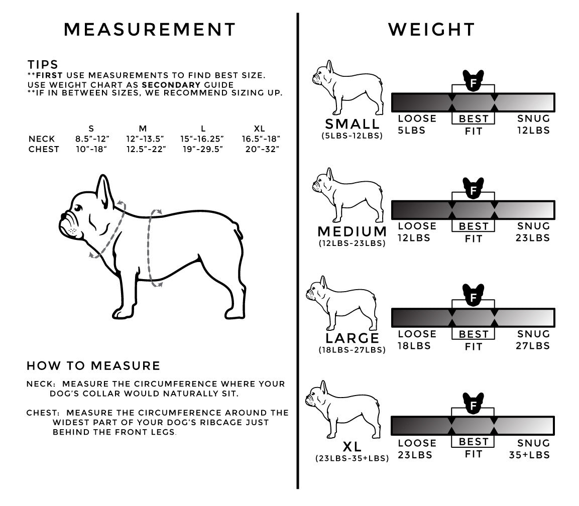 Frenchie Pet Supply Sizing Chart