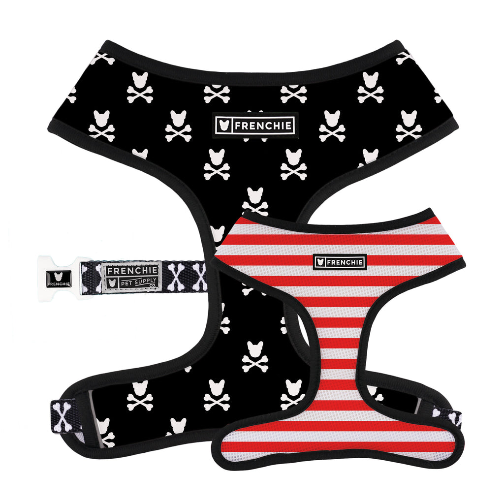 Frenchie Duo Reversible Harness - Bad To The Bone - Frenchie Bulldog - Shop Harnesses for French Bulldogs - Shop French Bulldog Harness - Harnesses for Pugs