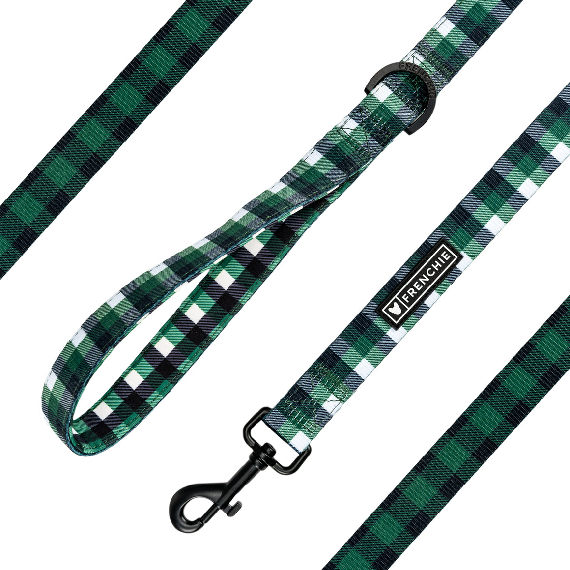Frenchie Comfort Leash - Emerald Plaid - Frenchie Bulldog - Shop Harnesses for French Bulldogs - Shop French Bulldog Harness - Harnesses for Pugs