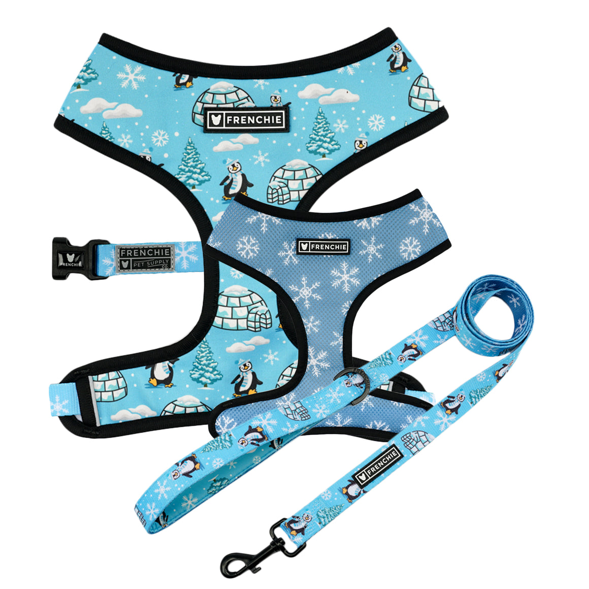 Matching Set- Frenchie Duo Reversible Harness and Comfort Leash- Blue Let It Snow - Frenchie Bulldog - Shop Harnesses for French Bulldogs - Shop French Bulldog Harness - Harnesses for Pugs
