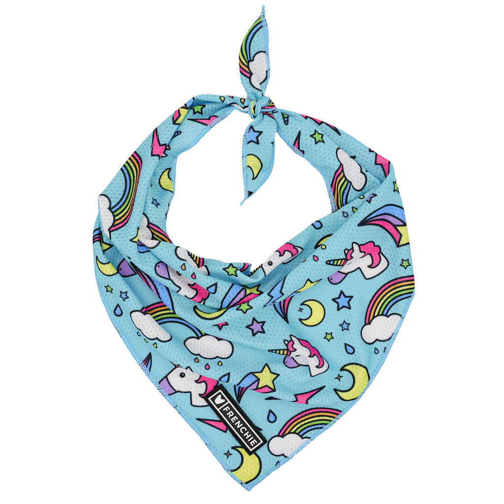 Frenchie Cooling Bandana - Blue Magical Unicorn - Frenchie Bulldog - Shop Harnesses for French Bulldogs - Shop French Bulldog Harness - Harnesses for Pugs