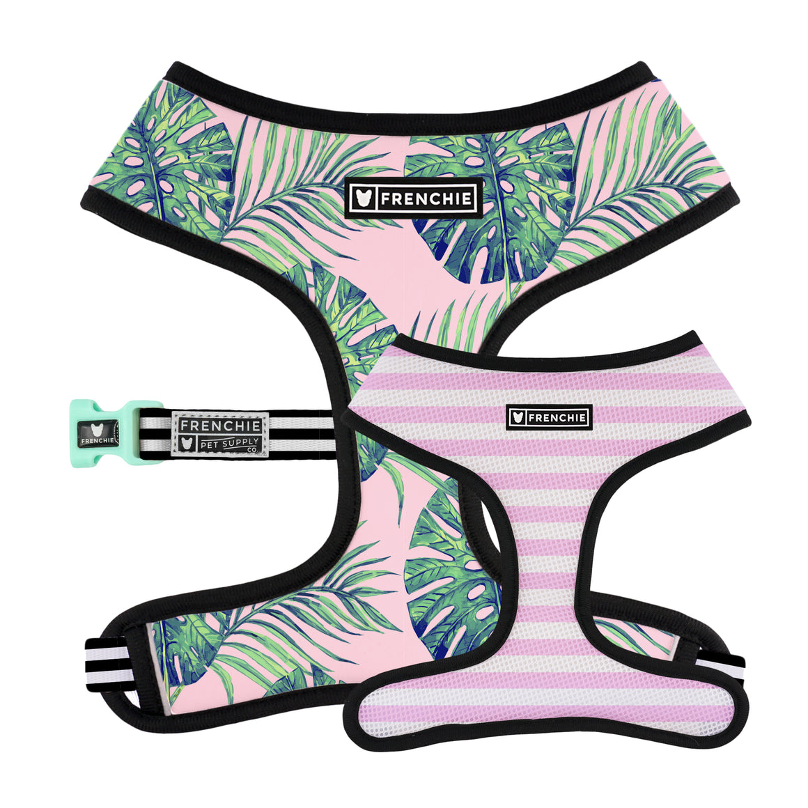 Frenchie Duo Reversible Harness - Pink Beverly Palms - Frenchie Bulldog - Shop Harnesses for French Bulldogs - Shop French Bulldog Harness - Harnesses for Pugs