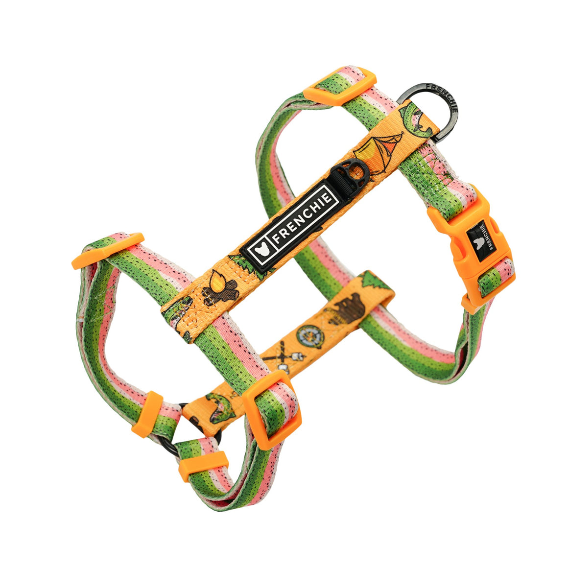 Frenchie Strap Harness - Happy Camper - Frenchie Bulldog - Shop Harnesses for French Bulldogs - Shop French Bulldog Harness - Harnesses for Pugs