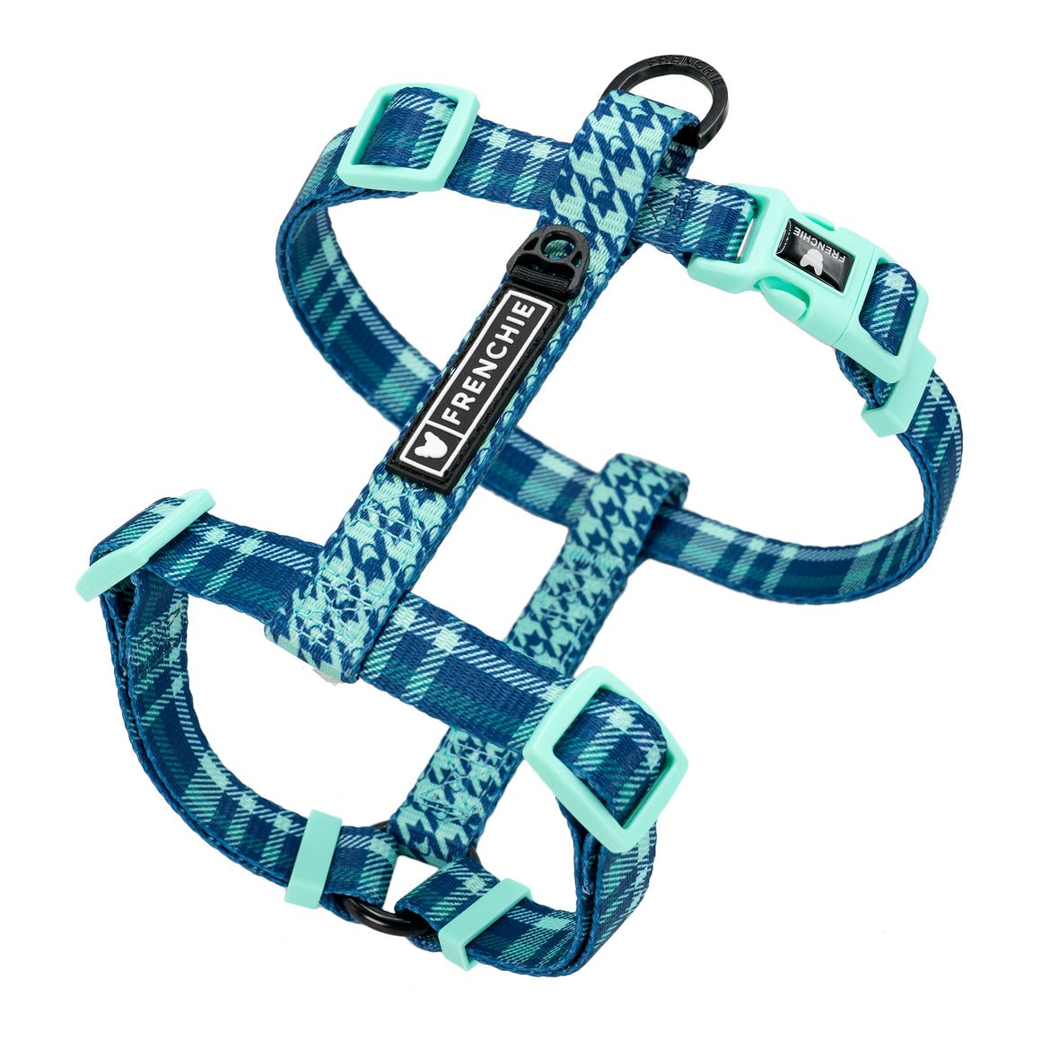 Frenchie Strap Harness - Blue Bird Plaid