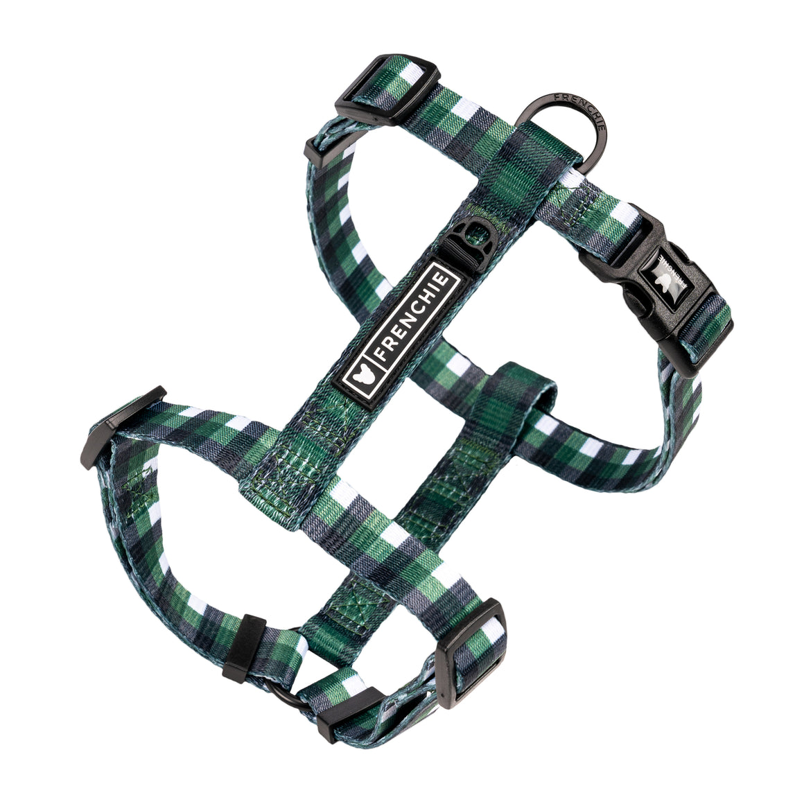 Frenchie Strap Harness - Emerald Plaid - Frenchie Bulldog - Shop Harnesses for French Bulldogs - Shop French Bulldog Harness - Harnesses for Pugs