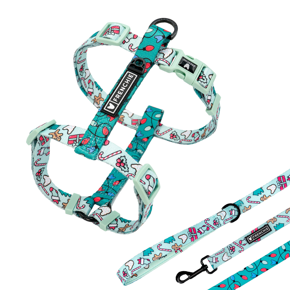 Matching Set- Frenchie Strap Harness and Comfort Leash- Deck the Halls