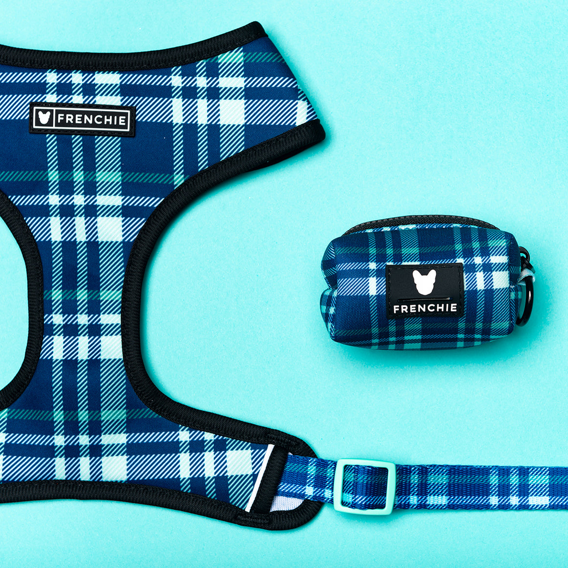 Frenchie Poo Bag Holder- Blue Bird Plaid