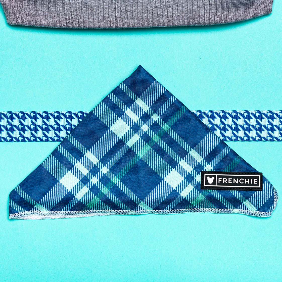 Frenchie Cooling Bandana - Blue Bird Plaid