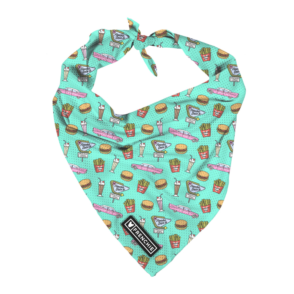 Frenchie Cooling Bandana- Frenchie Drive-In - Frenchie Bulldog - Shop Harnesses for French Bulldogs - Shop French Bulldog Harness - Harnesses for Pugs