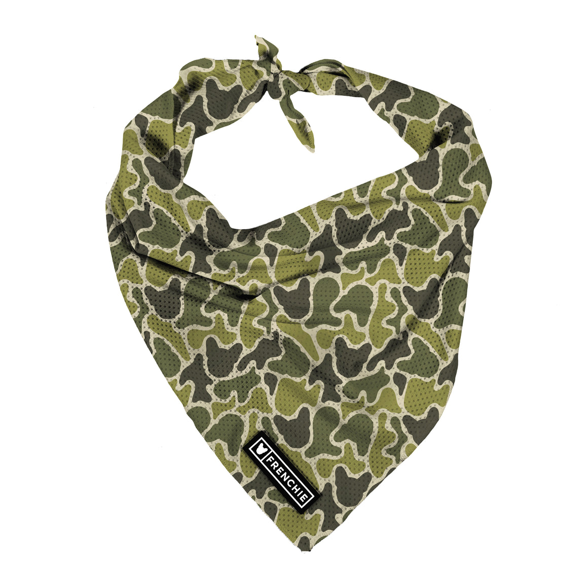 Frenchie Cooling Bandana- Green Frenchie Camo - Frenchie Bulldog - Shop Harnesses for French Bulldogs - Shop French Bulldog Harness - Harnesses for Pugs